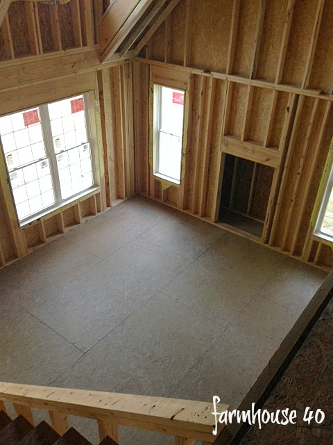 view from the loft to living room