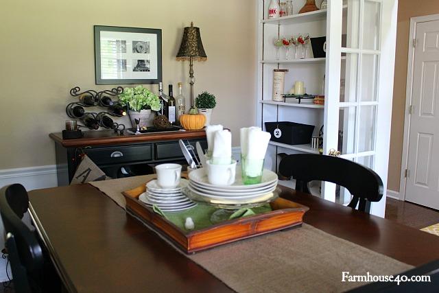 table vignette white green accents on burlap table runner