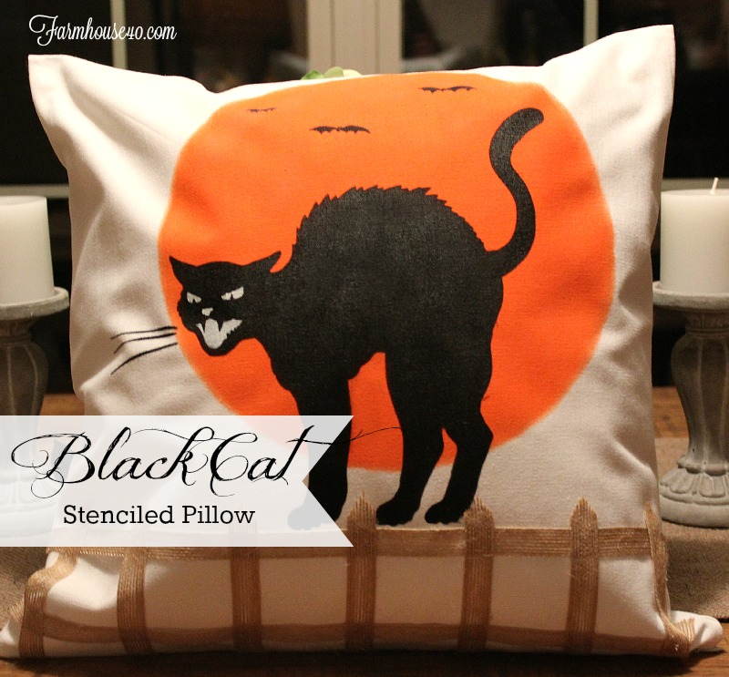 black cat stenciled pillow kit
