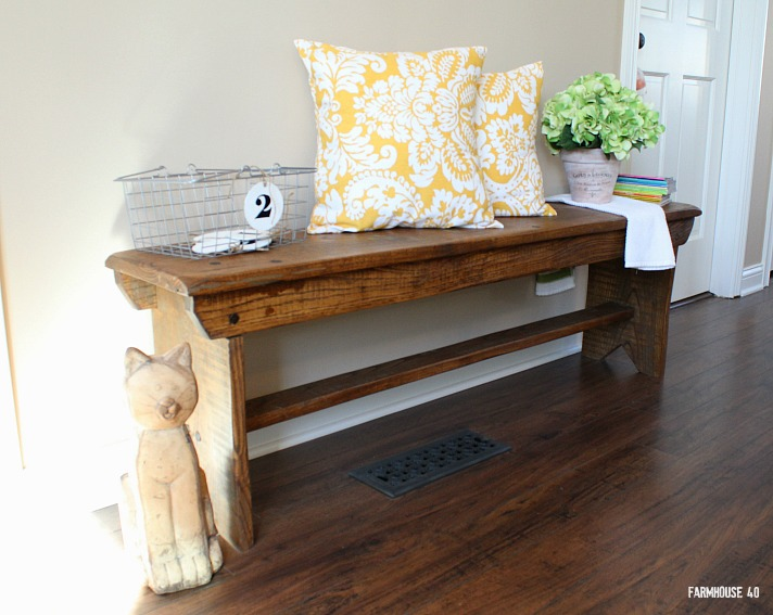 bench in kitchen with pillows 3872