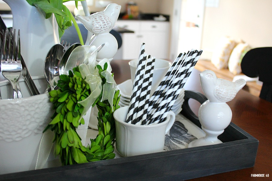 kitchen vignette black and white accents
