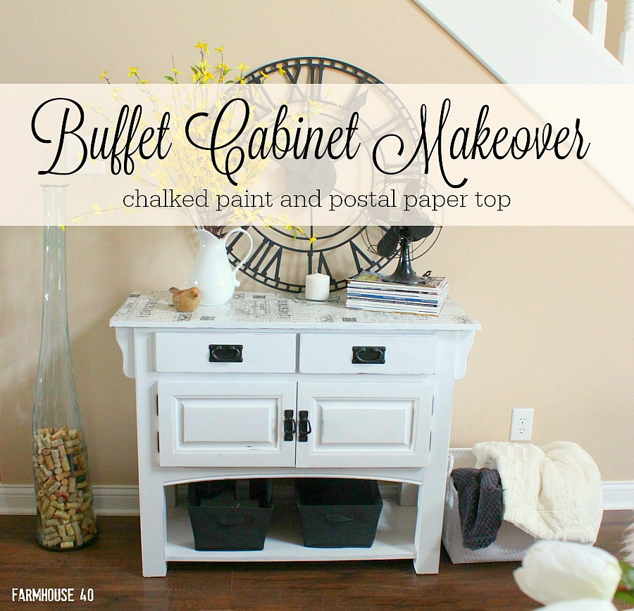 white chalk painted buffet