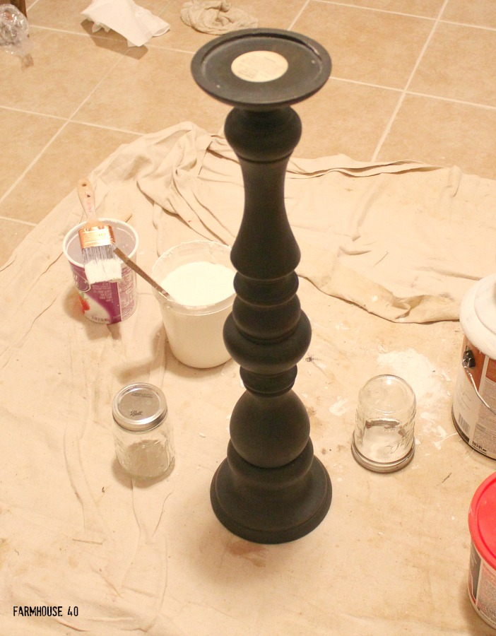 chalk painted wood candle holders
