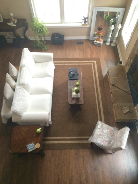 brown rug great room