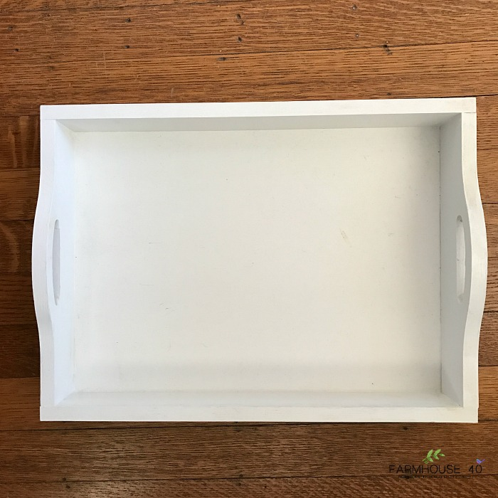 white wooden tray restyled using fabirc and mod podge