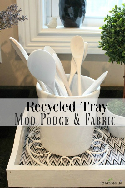 Upcycled tray using mod podge and fabric